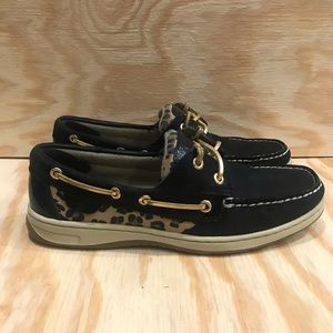 Sperry Top Sider Leopard Print Boat Shoes Black